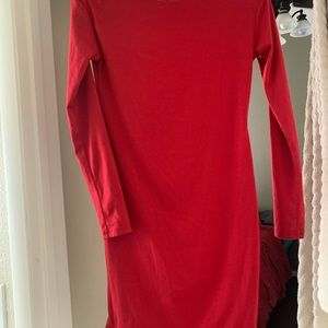 Red cotton body con dress
